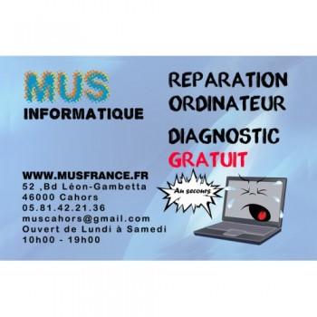 MUS Informatique Cahors, spécialiste de la réparation et dépannage d'ordinateur à Cahors.